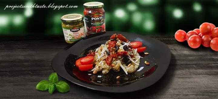 Makaron z zielonym pesto i pomidorkami / Pasta with green pesto and tomatoes