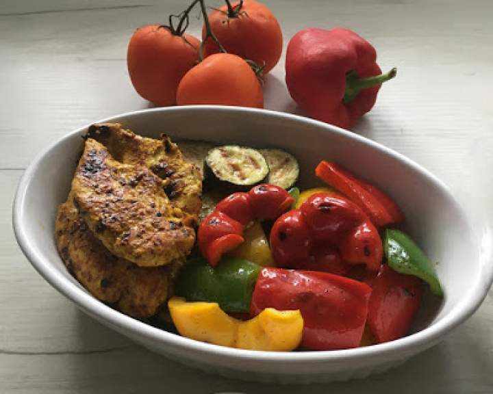 Warzywa grillowane z kurczakiem