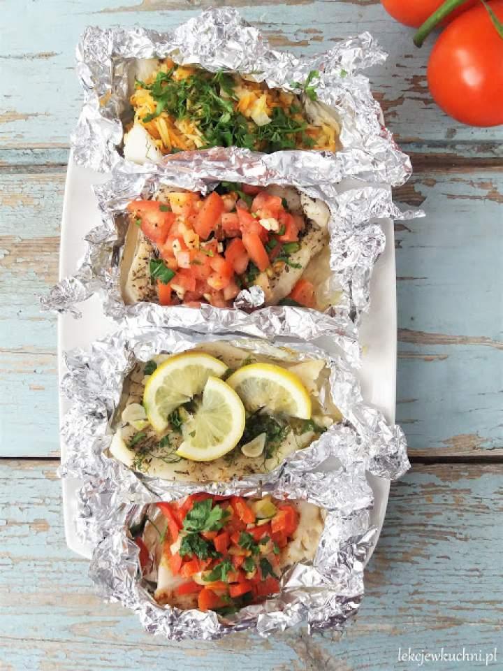 Ryba w folii z warzywami z (grilla lub z piekarnika) / Baked or Grilled Fish with Vegetables