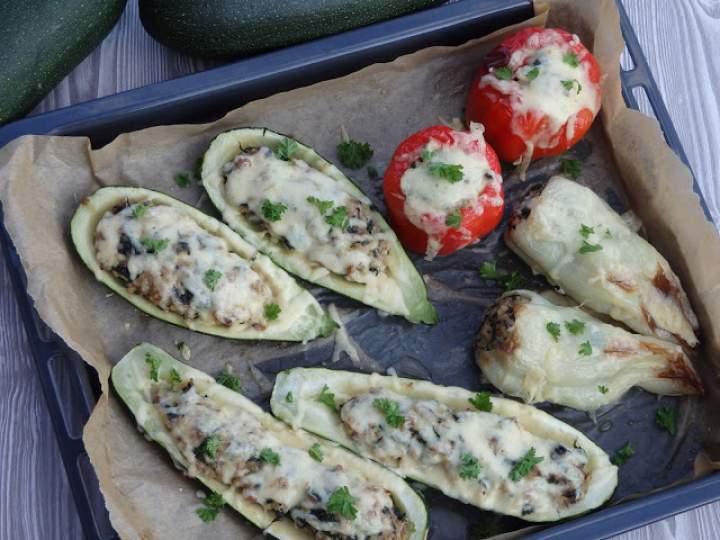 Warzywa faszerowane mięsem, szpinakiem i kaszą bulgur
