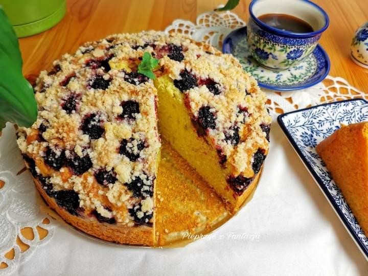 Ciasto mieszane widelcem (z jeżynami)
