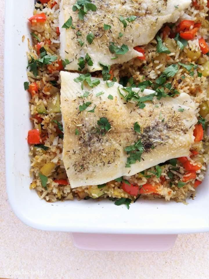 Ryba z piekarnika z warzywami i ryżem / Baked Fish with Rice and Vegetables