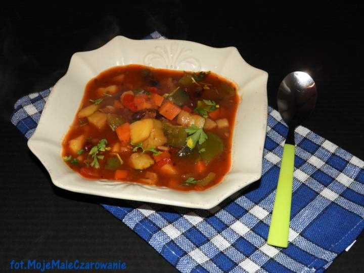 Pikantna zupa z Meksyku z czerwoną fasolą