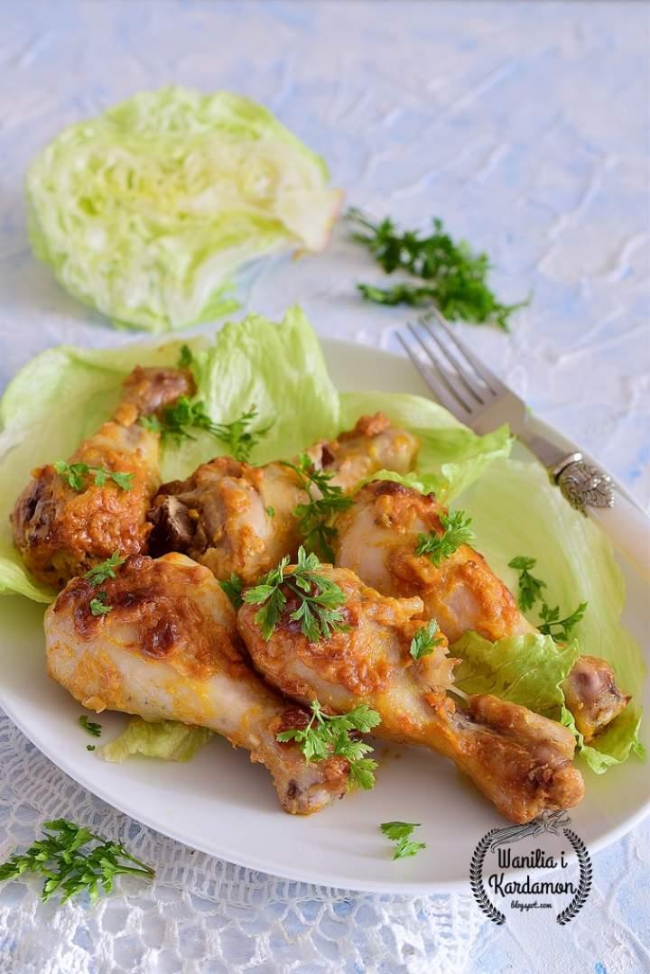 Pałki kurczaka pieczone  w majonezowo-musztardowej marynacie z syropem klonowym