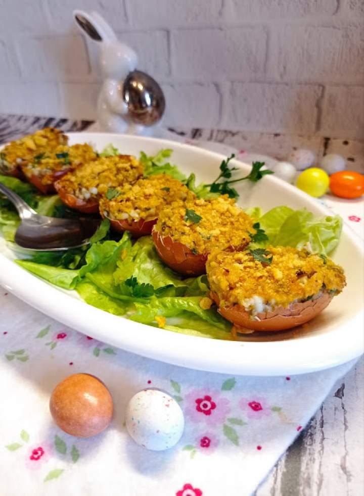 Zapiekane jajka faszerowane z pieczarkami