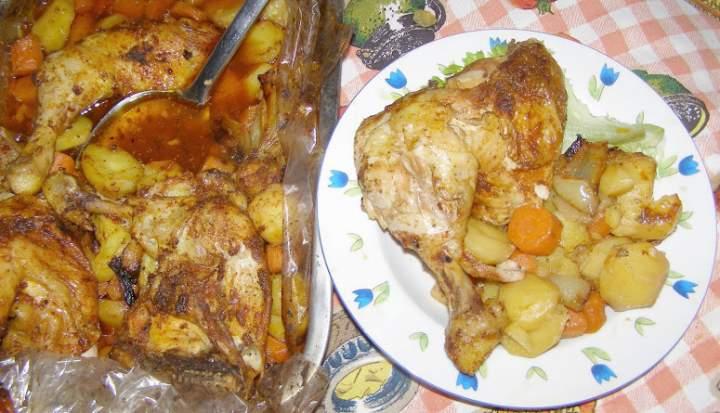 pyszne z rękawa udka kurczaka z warzywami,ziemniakami…