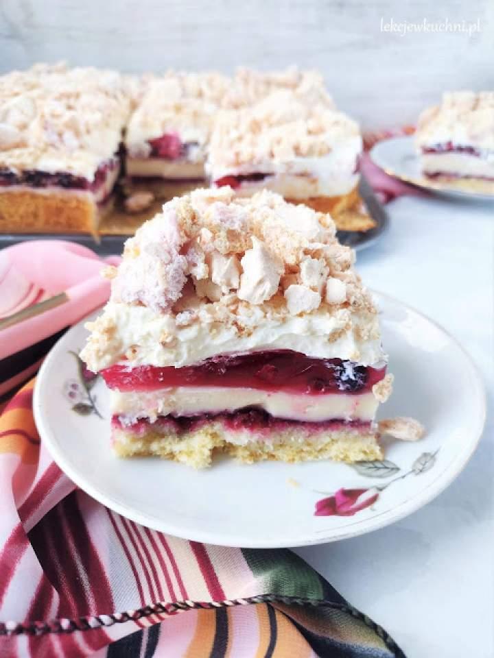 Kostka malinowo – bezowa / Meringue Raspberry Cake