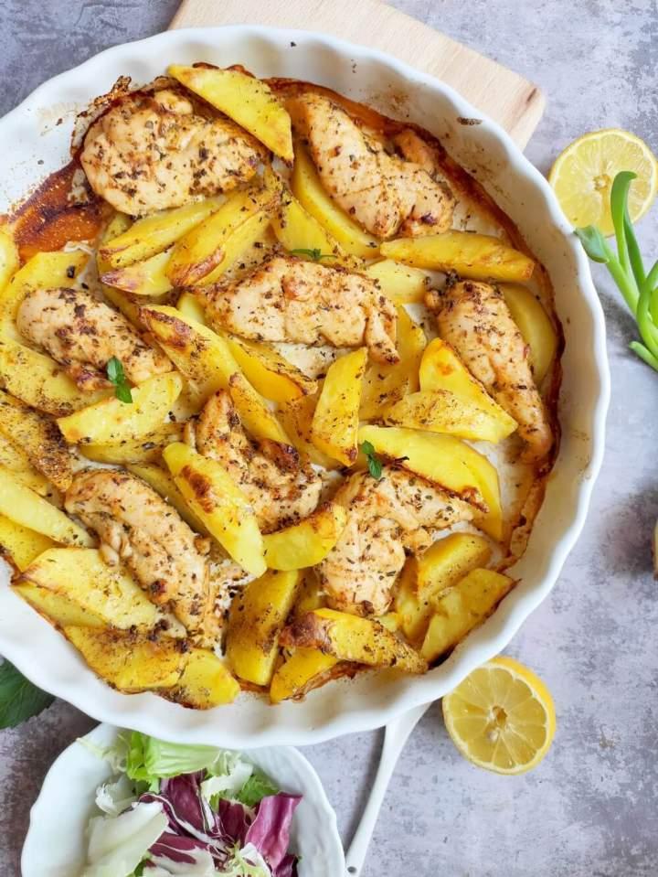 Polędwiczki z kurczaka pieczone z ziemniakami