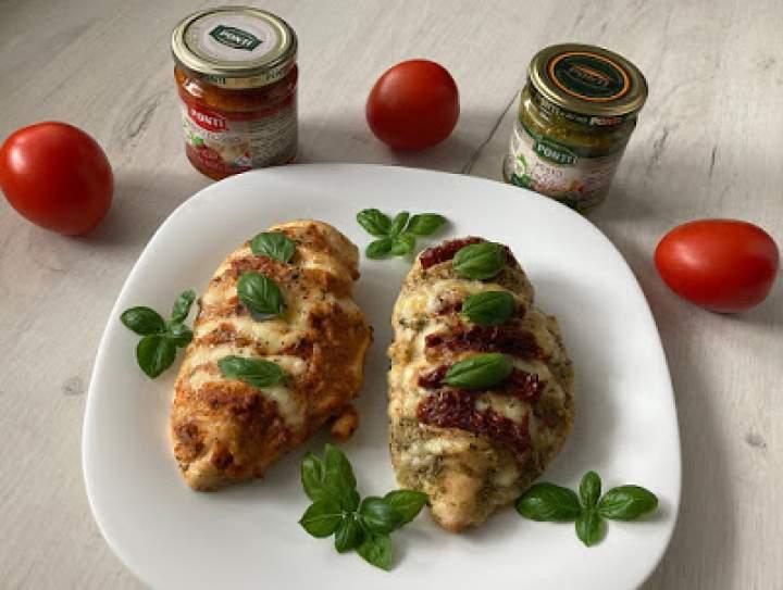 Pierś kurczaka w pesto z suszonymi pomidorami i mozzarellą