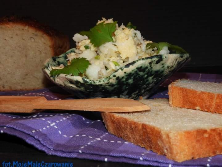 Pasta z wędzonego halibuta z jajem