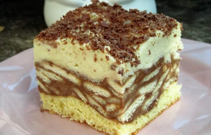 Ciasto Zygzak-czekoladowe z herbatnikami i kremem -super wygląda i smakuje +FILM