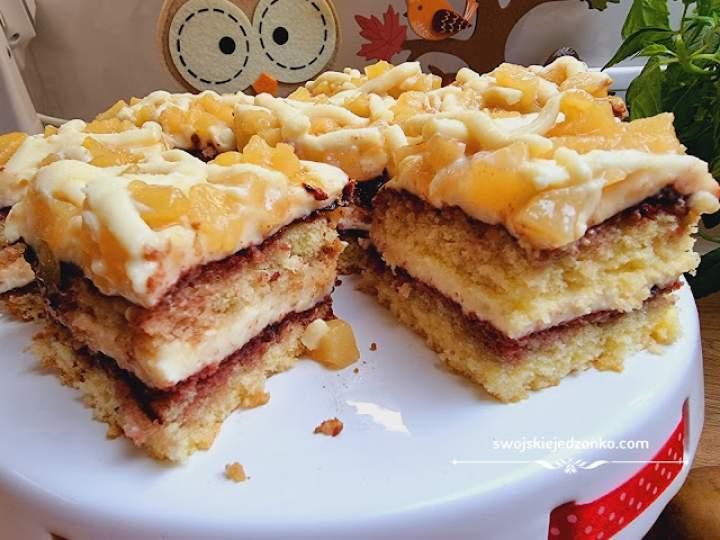 Ciasto z gruszkami masą budyniową i białą czekoladą