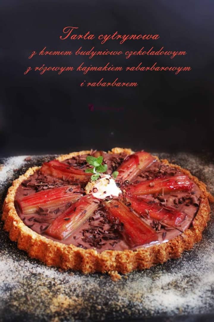 Tarta cytrynowa z kremem czekoladowym,różowym kajmakiem i rabarbarem