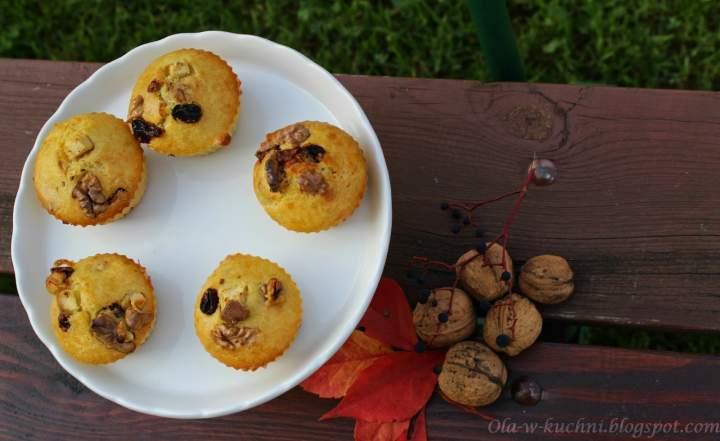 Muffinki z czekoladą, orzechami i rodzynkami