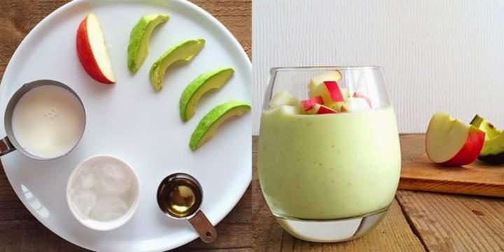 awokado + jabłko + miód + mleko roślinne