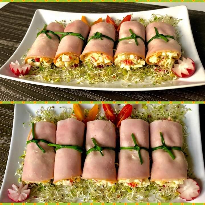 Wielkanocne rollsy z szynką i sałatką jajeczną