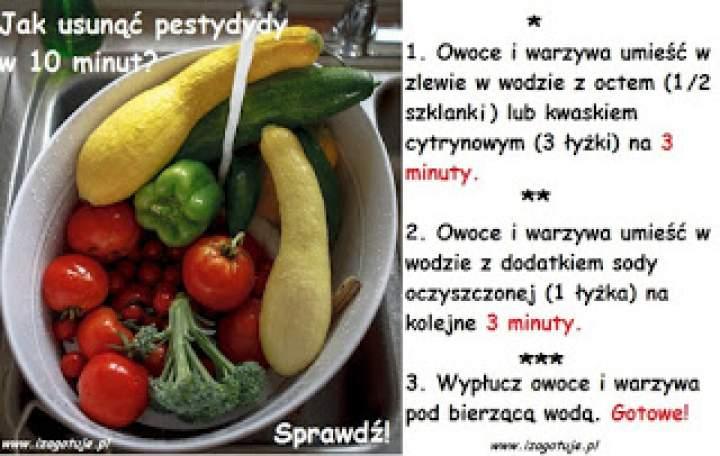 Jak usunąć groźne pestycydy z owoców i warzyw w 10 minut?