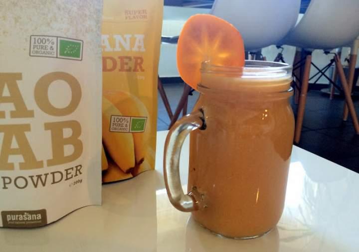 kaki + dynia + kasza jaglana + baobab + banana powder + kurkuma