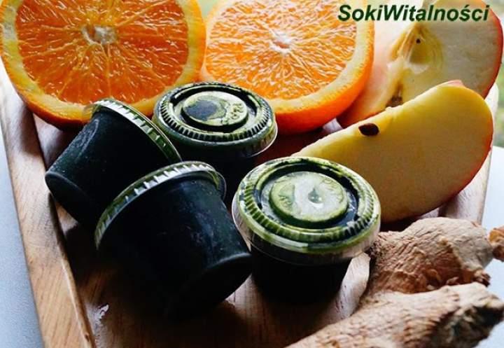 imbir + pomarańcza  + jabłko + zielony sok