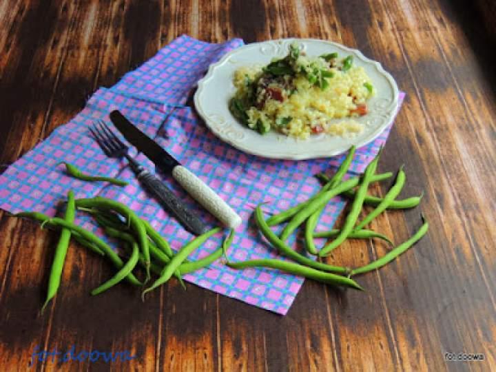 Risotto z fasolką szparagową i salami Fuet
