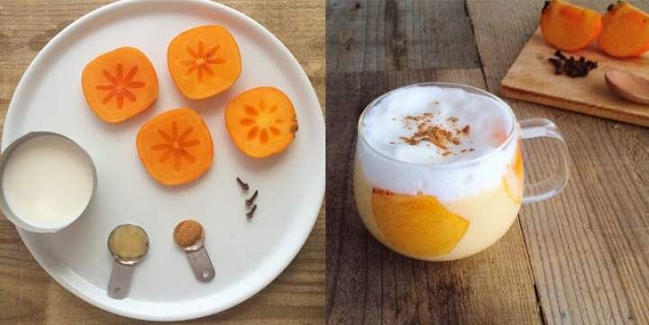 kaki + goździki + miód + cynamon + mleko roślinne