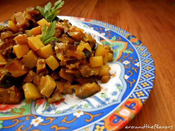 Aloo baigan tarkari,curry z ziemniaków i bakłażana
