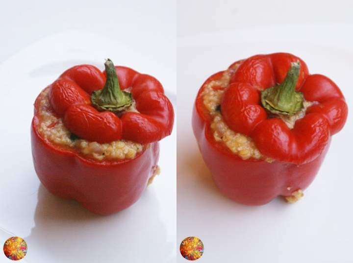 Papryka faszerowana kaszą jaglaną