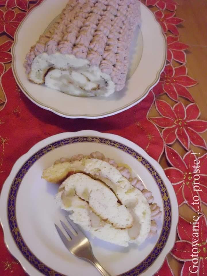 Rolada z jabłkami i śmietanowo – kakaowymi rozetkami