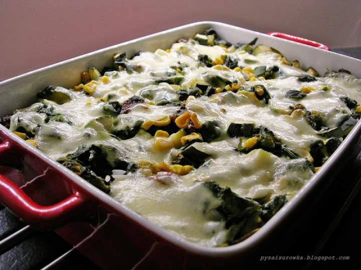 Zapiekanka z ryżem, szpinakiem i mozzarellą