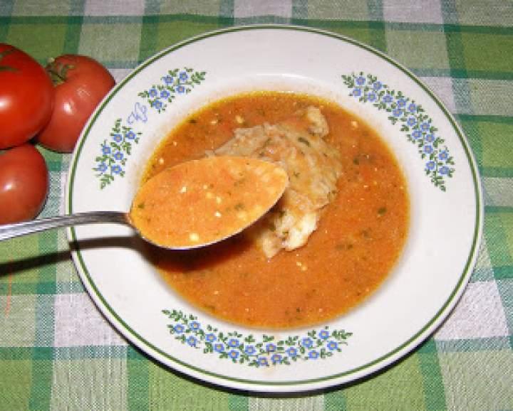 pomidorowa z pomidorów na udach kurczaka z ryżem…