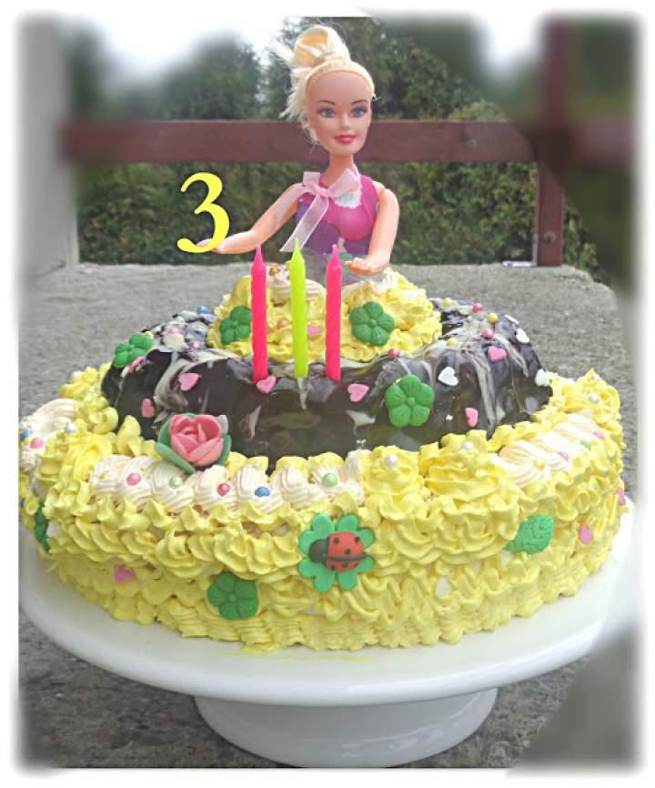 Tort z kremem na bazie bezy szwajcarskiej na 3 latka Zosi – Sofia's 3rd Birthday Cake