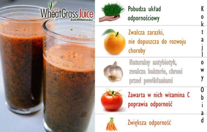 marchew + pomarańcza + pomidor + czosnek + sok z trawy pszenicznej