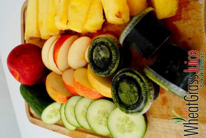 ogórek + ananas + sok z trawy pszenicznej + jabłko