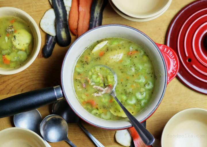 Split pea soup inspired by Polish military field kitchens.  Perfect for Christmas leftover ham