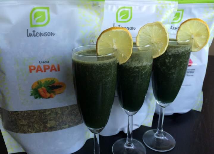 cytryna + napar z liści papaji + spirulina + chlorella + grejpfrut + banan + jabłko