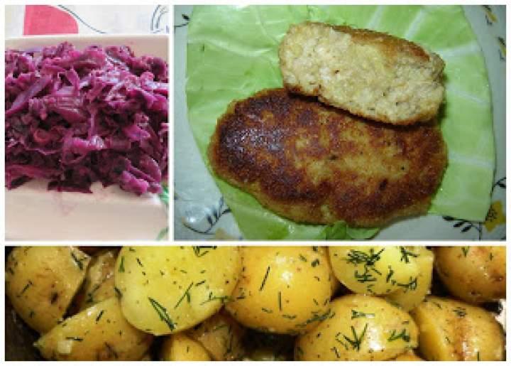 Niedzielny obiad: mielone z ziemniakami i czerwoną kapustą smażoną