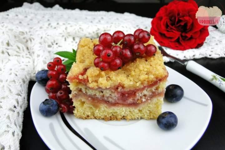 Ciasto rabarbarowo-truskawkowe z kruszonką
