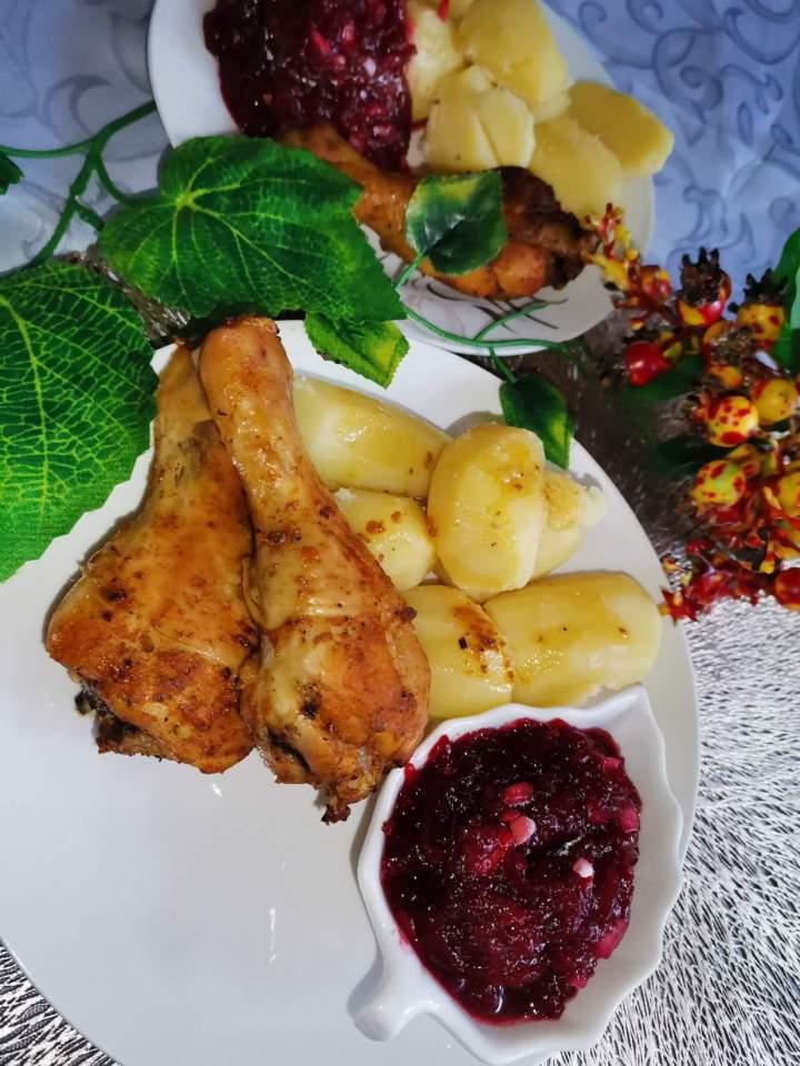 Podudzia kurczaka pieczone w przyprawach z musztardą