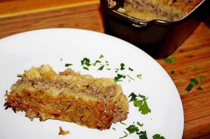 Babka ziemniaczana z pieczarkami i mielonym mięsem