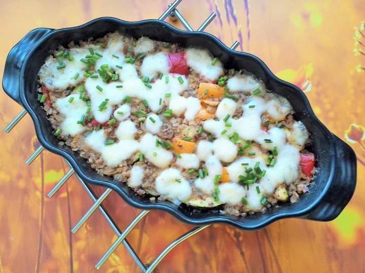 Zapiekana kasza gryczana z warzywami i mozzarellą
