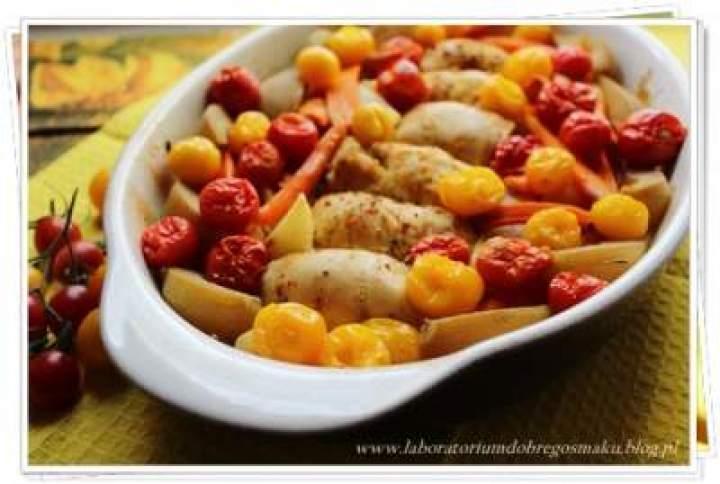 Roladki drobiowe z warzywami i gruszkami