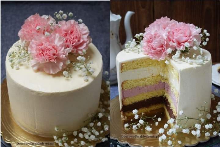 tort biała czekolada wiśnia i trufla